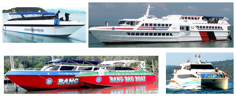 Ferries and speedboats serving Koh Kood, Koh Mak, Koh Wai, Koh Chang, Laem Ngop, Laem Sok and Trat